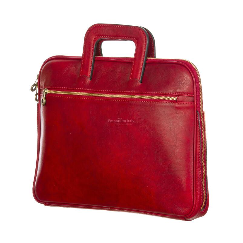 ENEA : cartella ufficio / porta pc, uomo - donna, in cuoio, colore : ROSSO, Made in Italy. (Borsa)