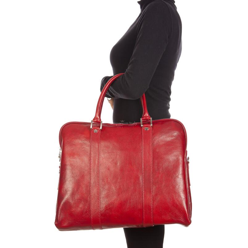 MALCO : cartella ufficio / borsa portacomputer, uomo - donna, in cuoio, colore : ROSSO, Made in Italy