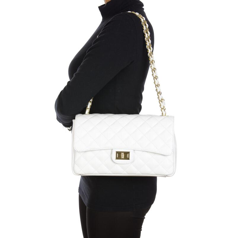 Borsa a spalla da donna in vera pelle CHARLOTTE MEDIUM, colore BIANCO, DELIA REI, MADE IN ITALY