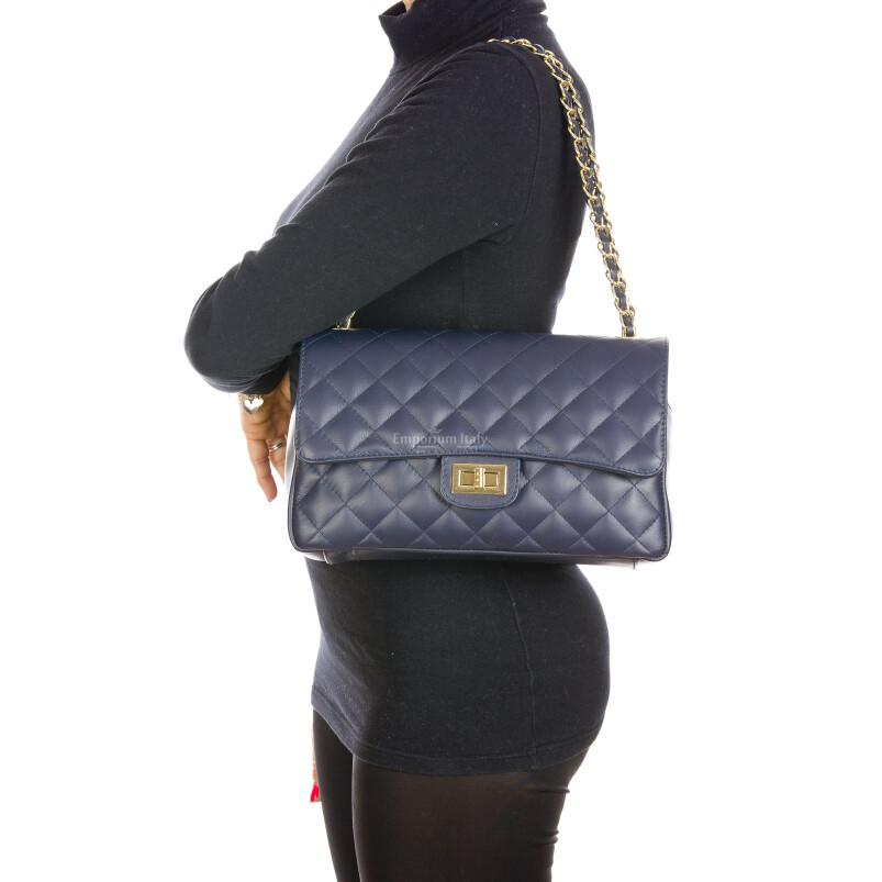 Borsa a spalla da donna in vera pelle CHARLOTTE MEDIUM, colore BLU, DELIA REI, MADE IN ITALY