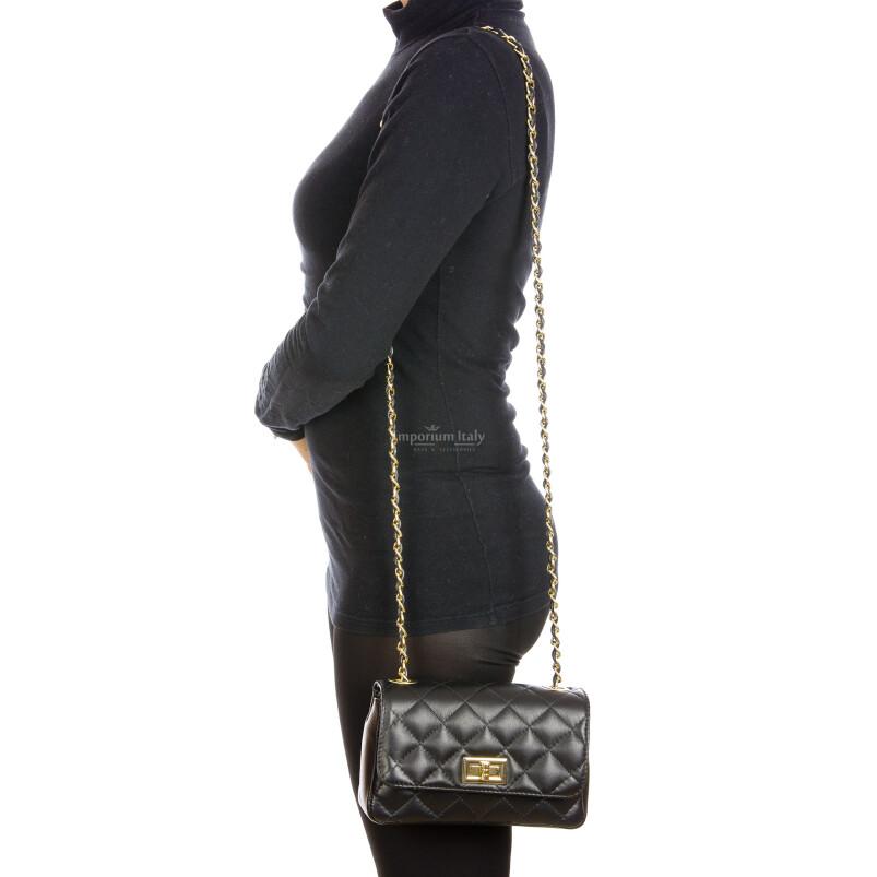 Borsa a spalla da donna in vera pelle CHARLOTTE MINI, colore NERO, DELIA REI, MADE IN ITALY