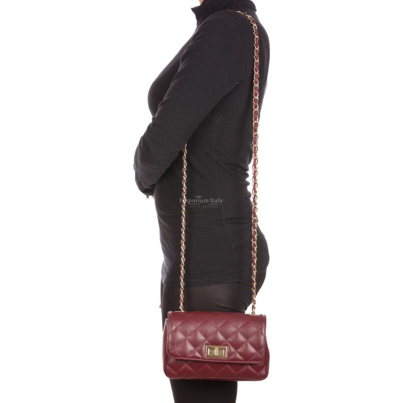 Borsa a spalla da donna in vera pelle CHARLOTTE MINI, colore PRUGNA, DELIA REI, MADE IN ITALY