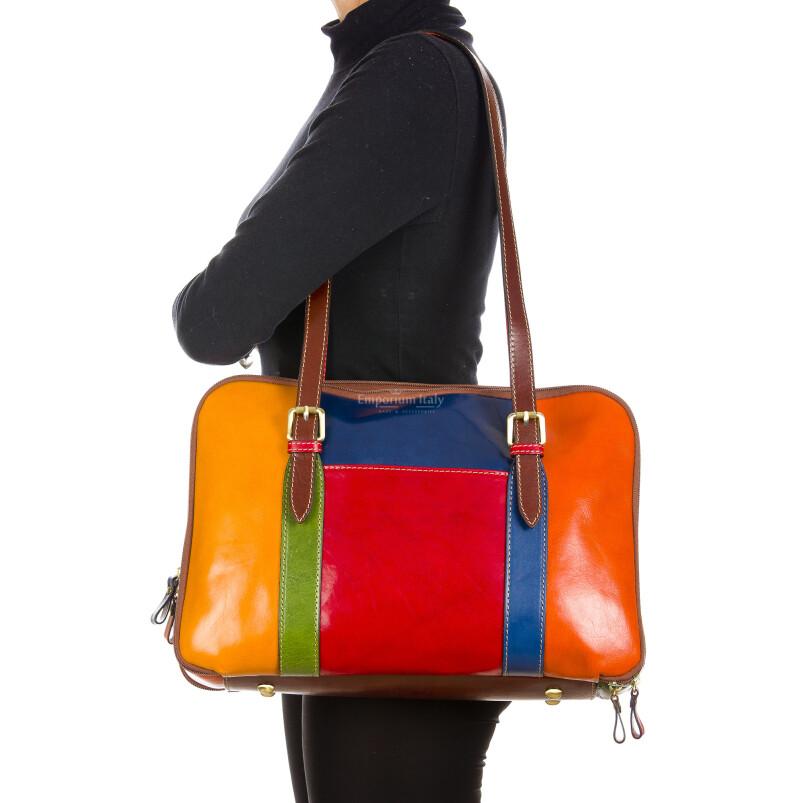 ADELAIDE : borsa donna ufficio in cuoio, colore : MULTICOLOR, Made in Italy