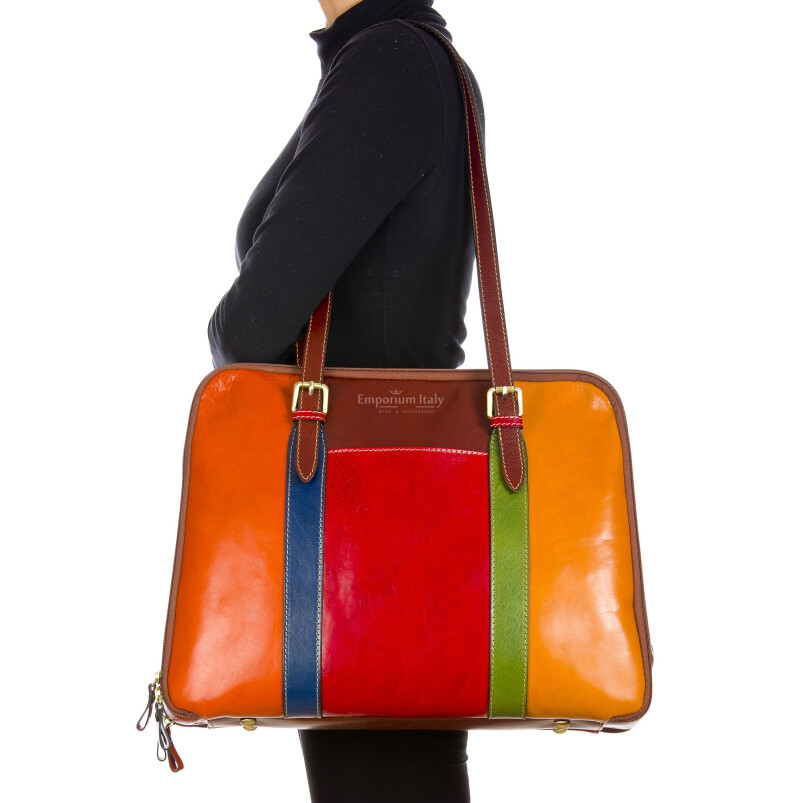ANNALISA : borsa donna a spalla in cuoio, colore: MULTICOLOR, Made in Italy