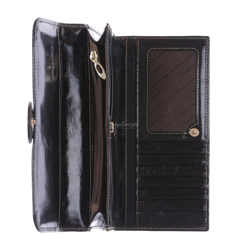PRIMULA : portafoglio donna in pelle morbida cerata, colore: NERO, Made in Italy