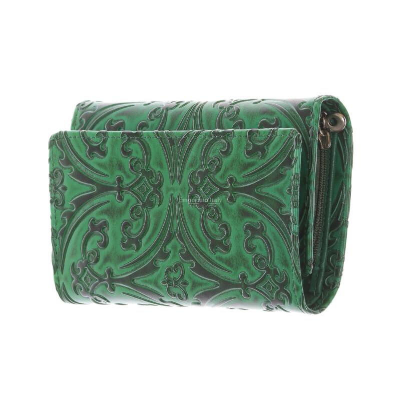 CAMELIA : portafoglio donna in cuoio, colore : VERDE, Made in Italy
