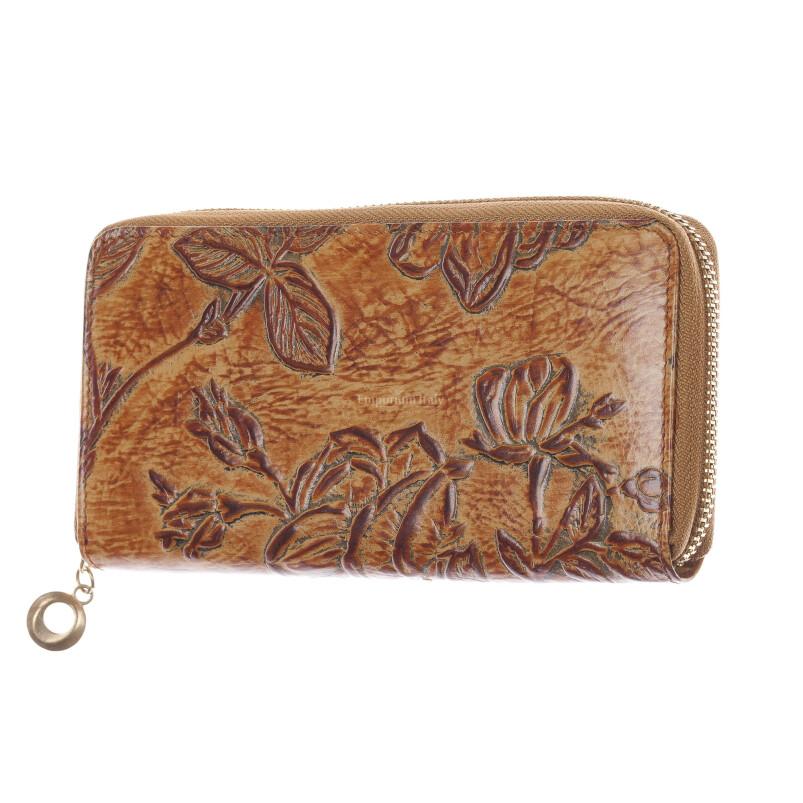 AZALEA : portafoglio donna in cuoio, colore : MIELE, Made in Italy