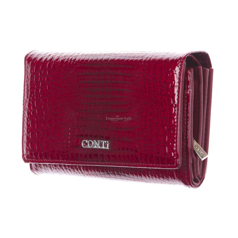 Lilia : portafoglio donna in pelle laccata, colore : ROSSO, Made in Italy