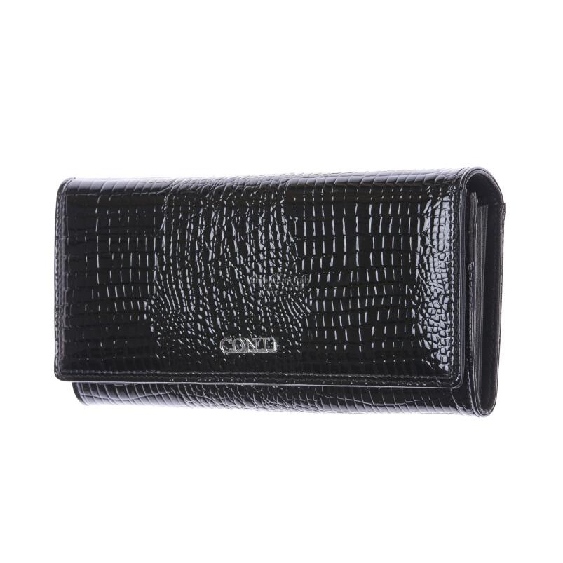 DAFNE : portafoglio donna in pelle laccata, colore : NERO, Made in Italy (Portafoglio)