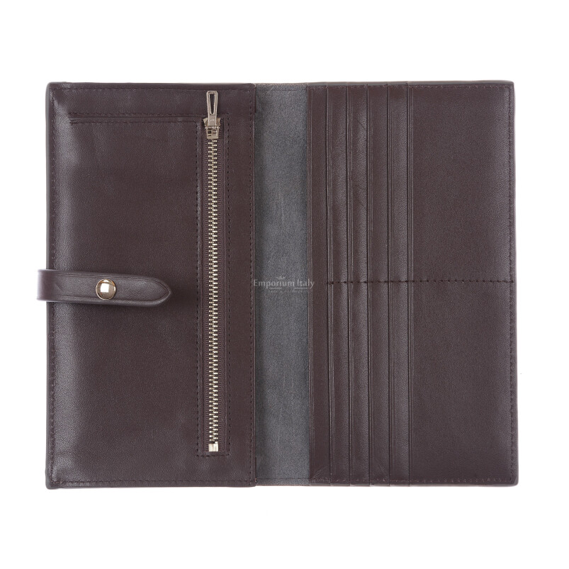 ABELIA : portafoglio donna, pelle morbida, super sottile, colore: TAUPE / TESTAMORO, Made in Italy