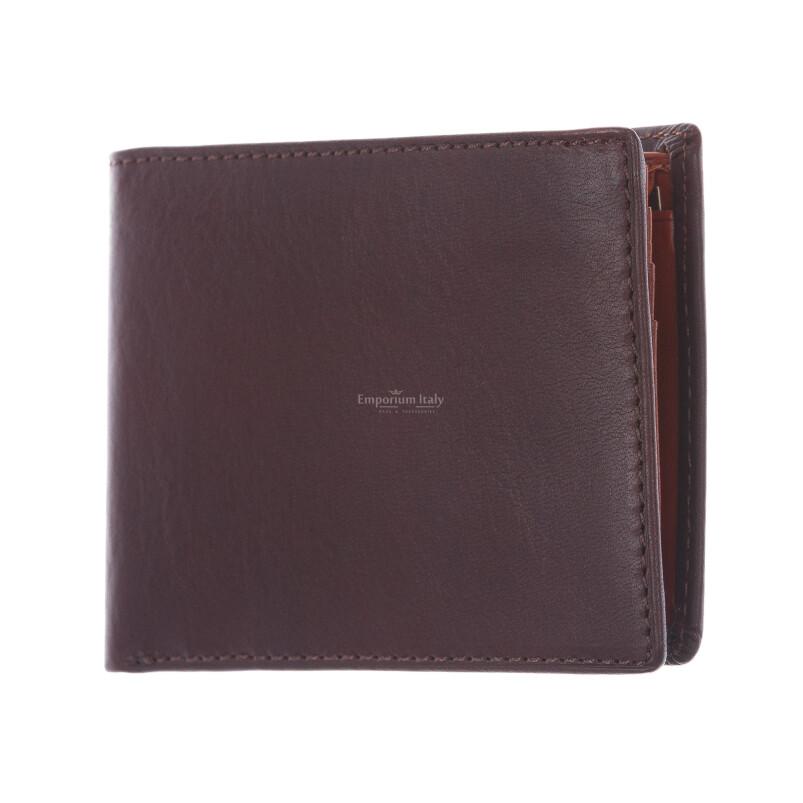 LAOS: portafoglio uomo in cuoio, colore: TESTA MORO / MIELE, Made in Italy