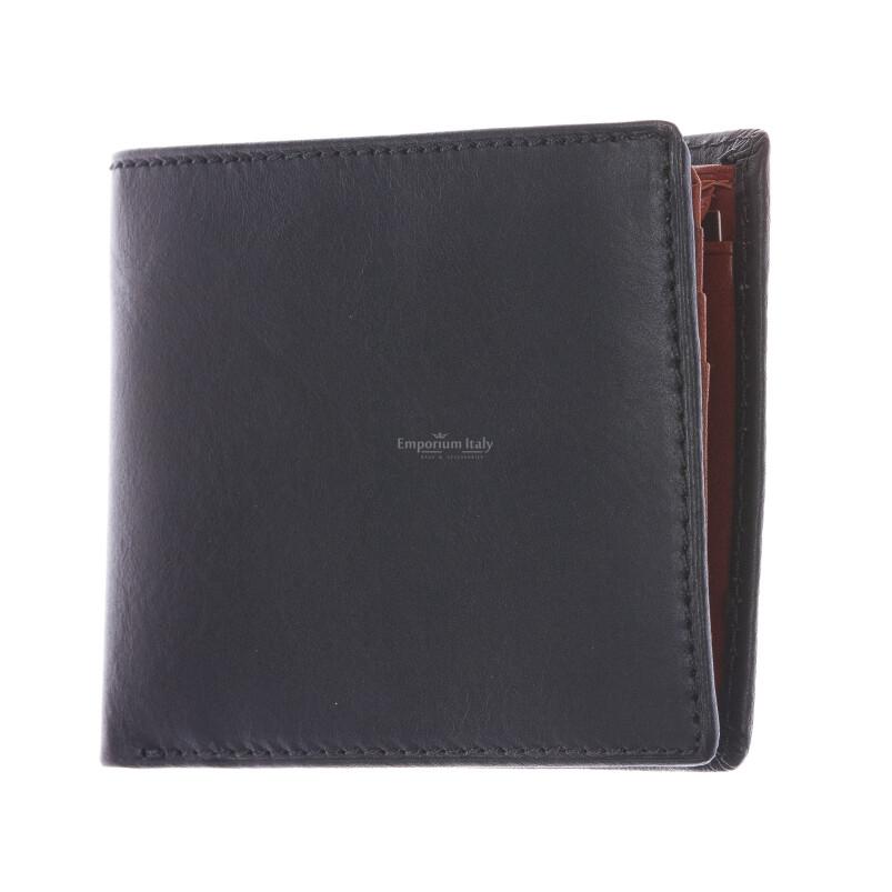 LAOS: portafoglio uomo in cuoio, colore: NERO / MIELE, Made in Italy