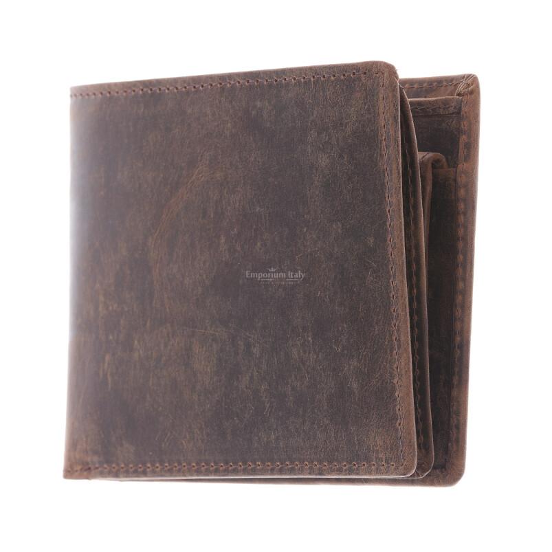 NEW ZELANDA: мужской кошелек из кожи нубук, цвет: коричневый, сделано в Италии