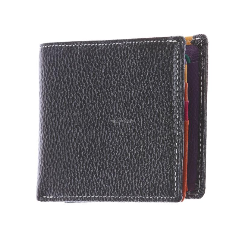 SLOVACCHIA MINI: portafoglio uomo, medio-piccolo, colore: NERO / MULTICOLOR, Made in Italy