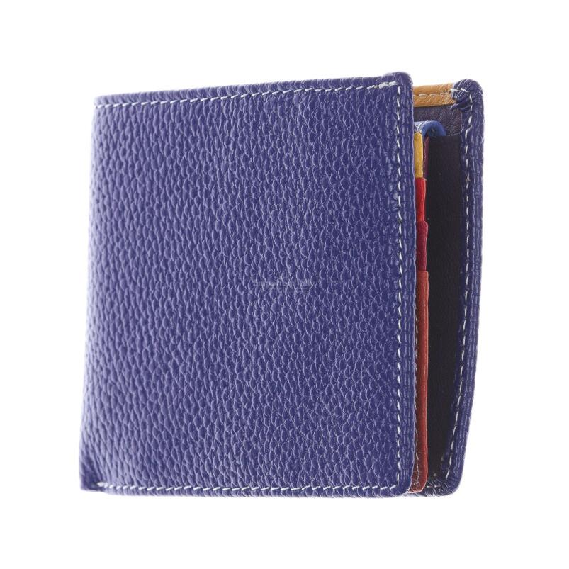 SLOVACCHIA MINI: мужской кошелек, средний размер, цвет: СИНИЙ-МУЛЬТИКОЛОР, сделано в Италии
