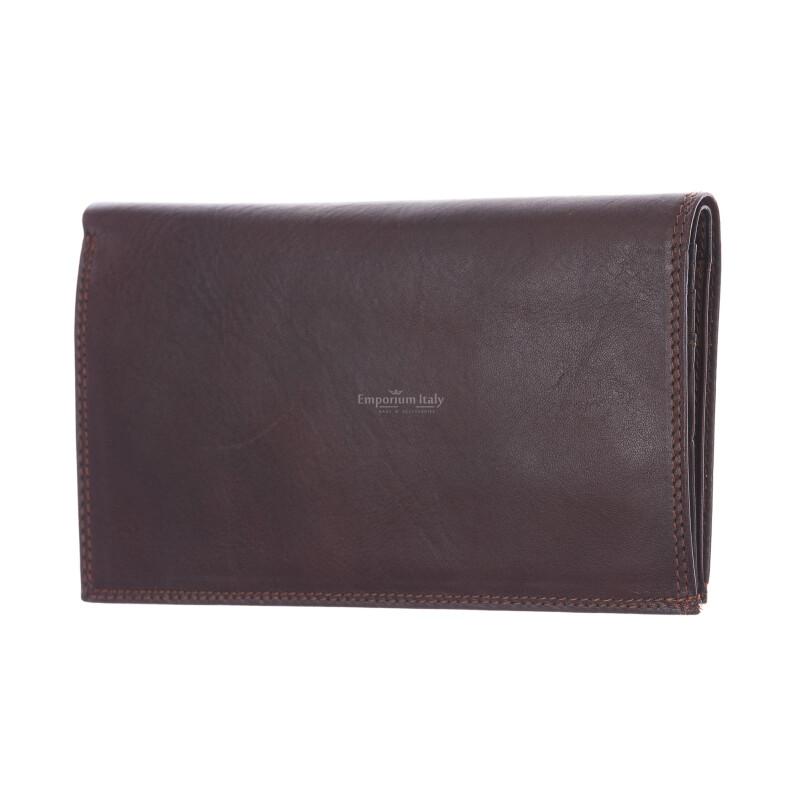 CONGO: мужской кожаный кошелек макси, цвет: ТЕМНО КОРИЧНЕВЫЙ, сделано в Италии