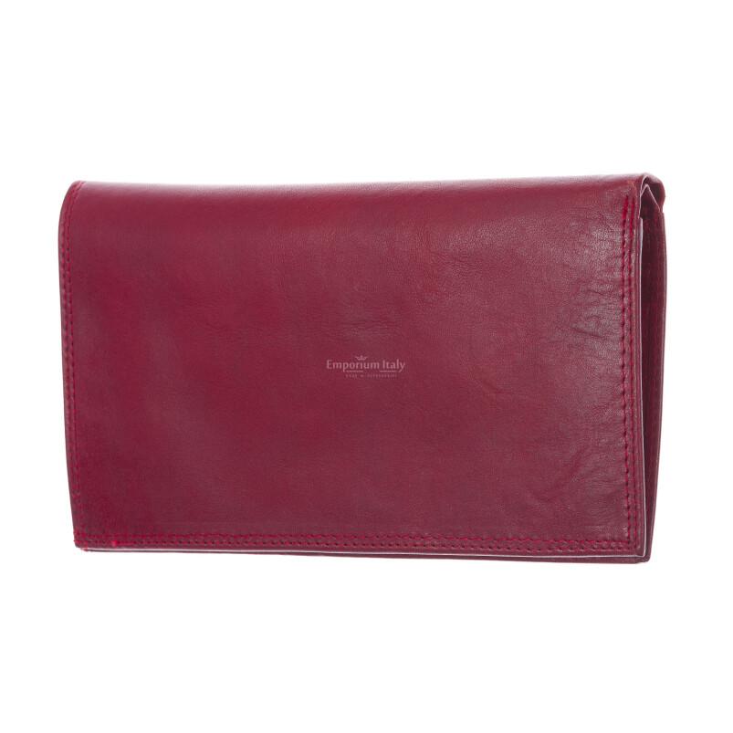 CONGO: maxi portafoglio uomo in cuoio, colore: ROSSO, Made in Italy