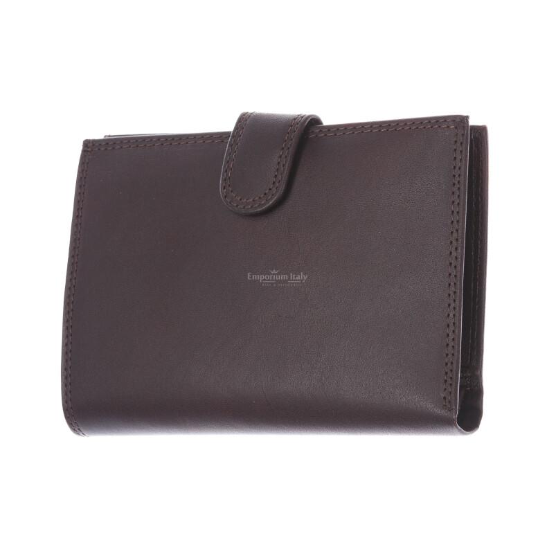 BRUNEI: portafoglio uomo in cuoio, colore: TESTAMORO, Made in Italy