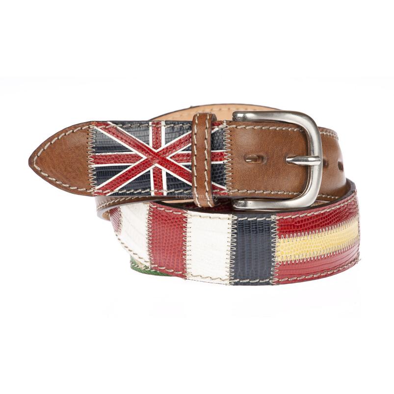 MOSCA: cintura uomo in pelle mista pitone,certificato CITES, bandiere multinazioni, colore : MARRONE / MULTICOLOR, Made in Italy (Cintura)