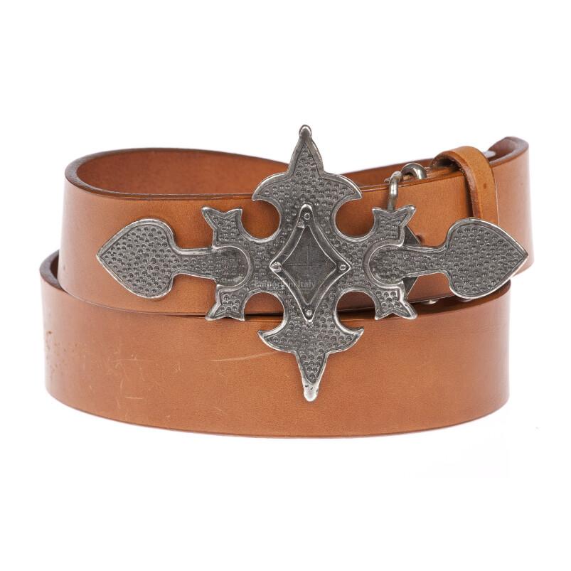 LIVORNO: cintura uomo in cuoio, fibbia artigianale, croce, colore: MARRONE, Made in Italy