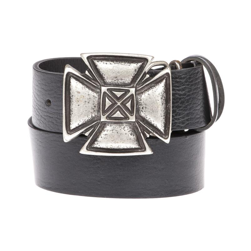 FRANCOFORTE: cintura uomo in cuoio, fibbia artigianale, croce, colore: NERO, Made In Italy