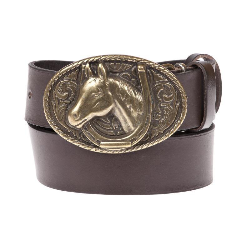 DOUGLAS: cintura uomo in cuoio, fibbia artigianale, colore: TESTA DI MORO, Made in Italy