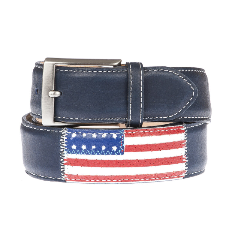 WASHINGTON: cintura uomo in cuoio, bandiere, colore: BLU / MULTICOLOR, Made in Italy (Cintura)