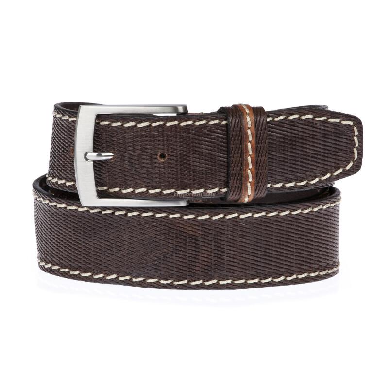PAVIA: cintura uomo in cuoio stampato, colore: TESTAMORO, Made in Italy