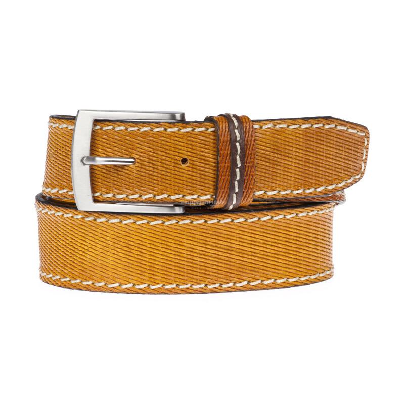PAVIA: cintura uomo in cuoio stampato, colore: GIALLO, Made in Italy