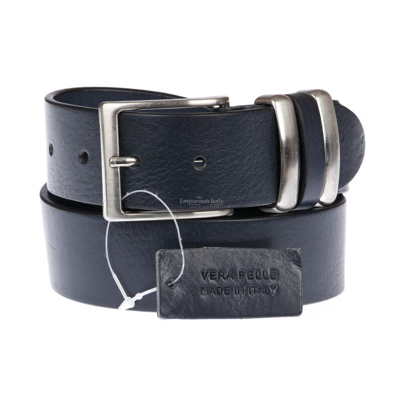 TREVISO: cintura uomo in cuoio, colore: BLU SCURO, Made in Italy