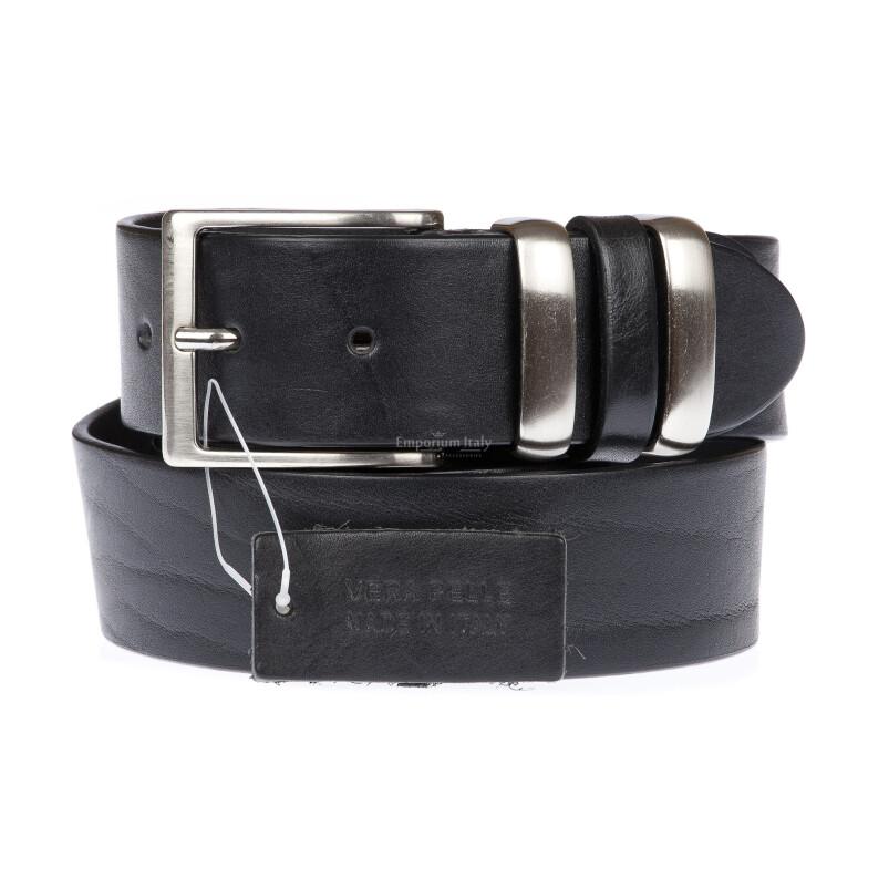 TREVISO: cintura uomo in cuoio, colore: NERO, Made in Italy