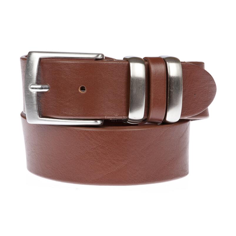 TREVISO: cintura uomo in cuoio, colore: MARRONE, Made in Italy
