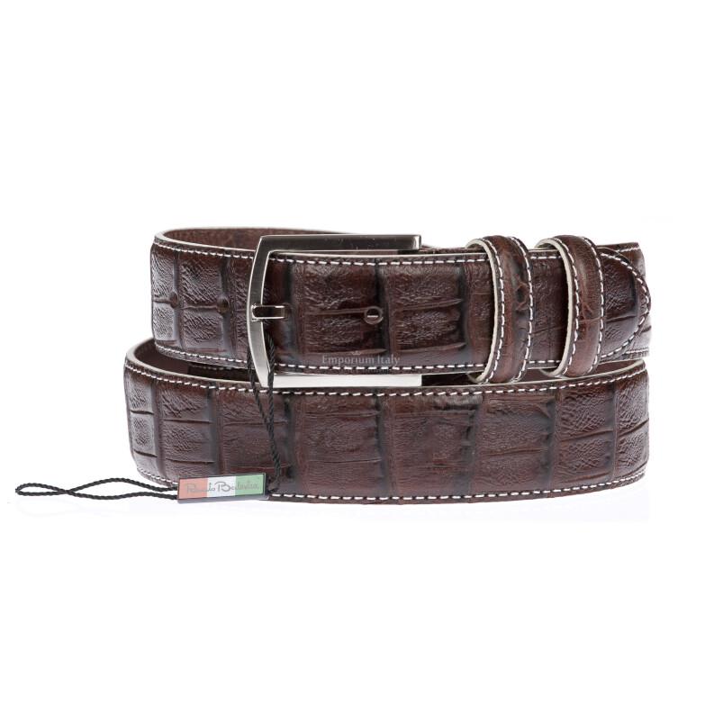 CREMONA: cintura uomo in pelle stampata coccodrillo, colore: TESTAMORO, Made in Italy