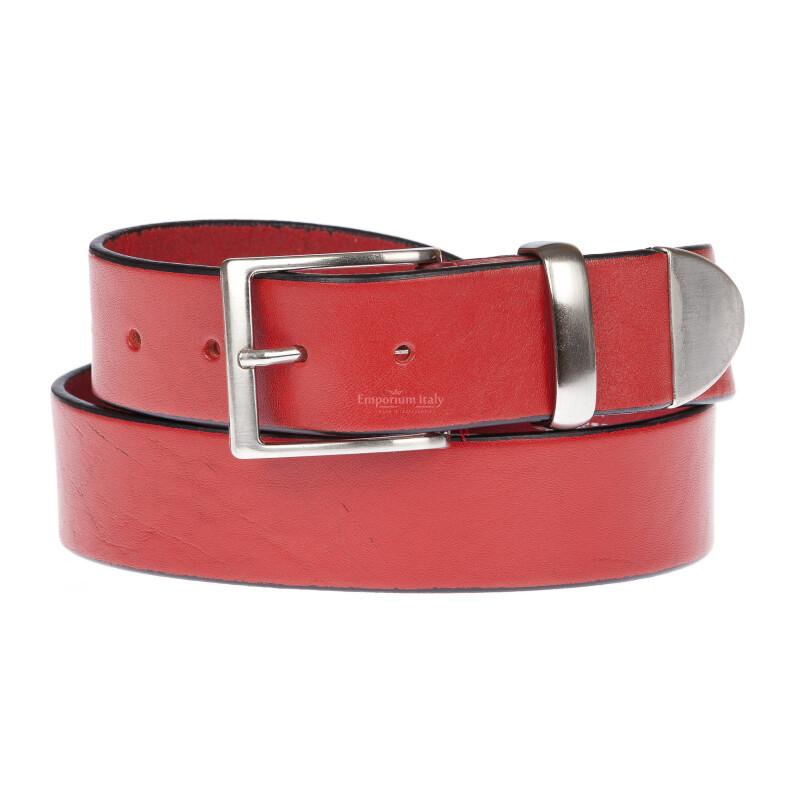 FIUMICINO: cintura uomo in cuoio, colore: ROSSO, Made in Italy