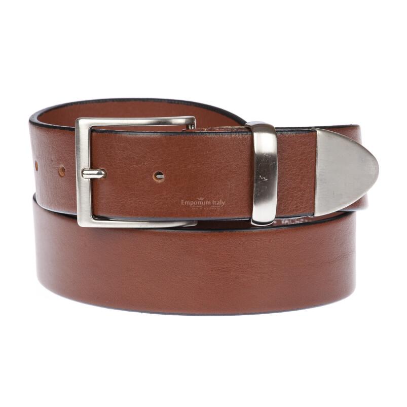 FIUMICINO: cintura uomo in cuoio, colore: MARRONE, Made in Italy