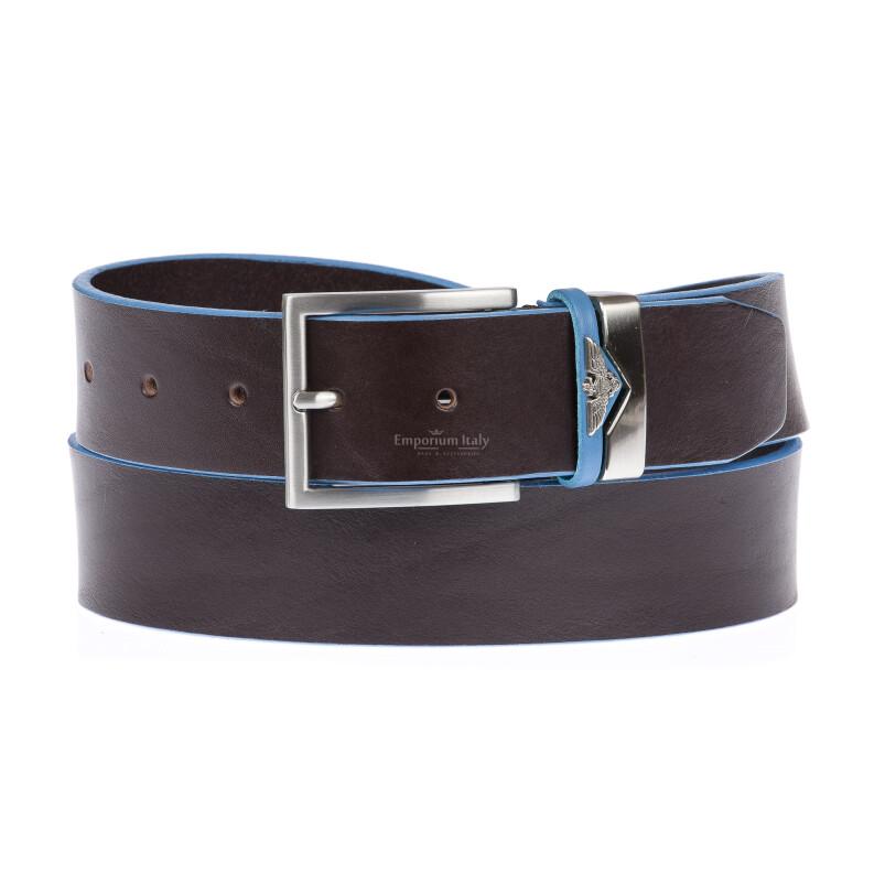 PORDENONE: cintura uomo in cuoio, bordo azzurro, colore: TESTAMORO, Made in Italy