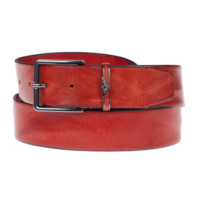 AQUILA: cintura uomo in cuoio, effetto drappeggio, colore : ROSSO, Made in Italy