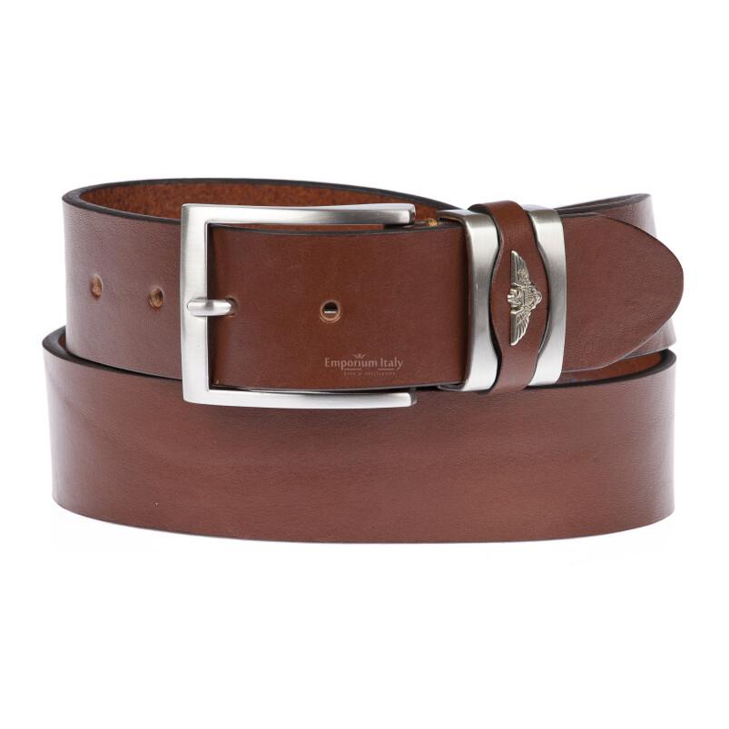 PORTLAND MEDIUM: cintura uomo / donna in cuoio, altezza 3 cm, colore: MARRONE, Made in Italy