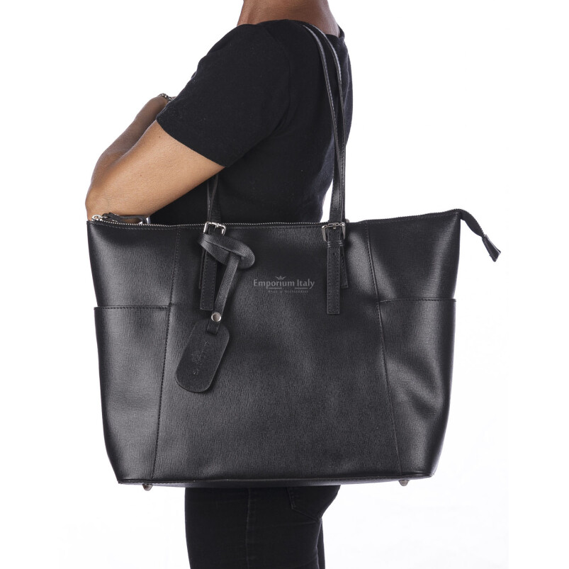 Borsa a spalla donna AMBRA in vera pelle rigida saffiano, colore NERO, SANTINI, Made in Italy