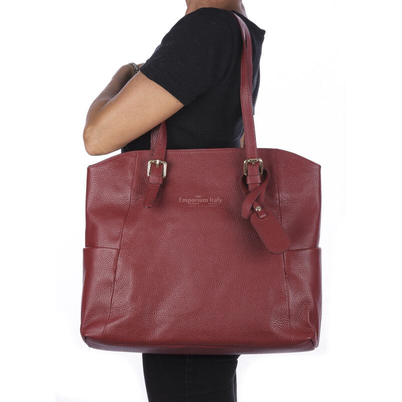Borsa a spalla donna CLERY, in vera pelle morbida martellata, colore ROSSO, CHIARO SCURO, Made in Italy