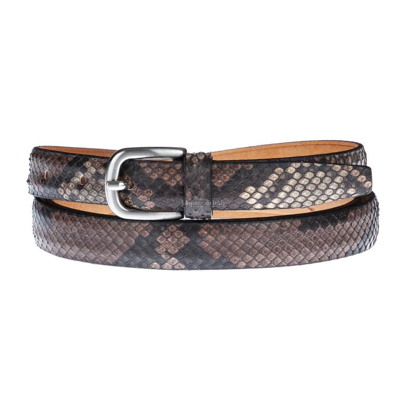 Cintura uomo FERRARA, vera pelle pitone certificato CITES, colore TESTA MORO, RINO DOLFI, Made in Italy