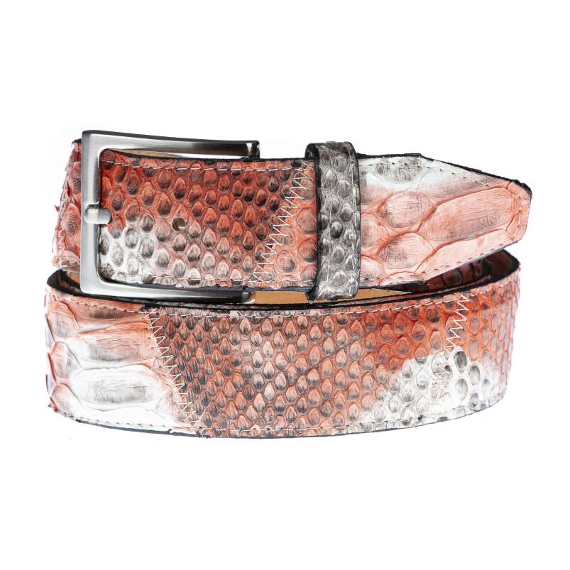 Cintura uomo TRIPOLI C34,vera pelle pitone certificato CITES, ARANCIONE/BIANCO, Rino Dolfi, Made in Italy