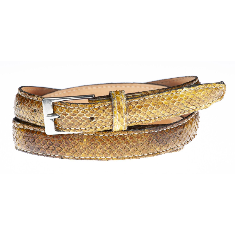 Cintura uomo/donna AMALFI vera pelle pitone certificato CITES, colore MIELE, ELIO ZAGATO, Made in Italy