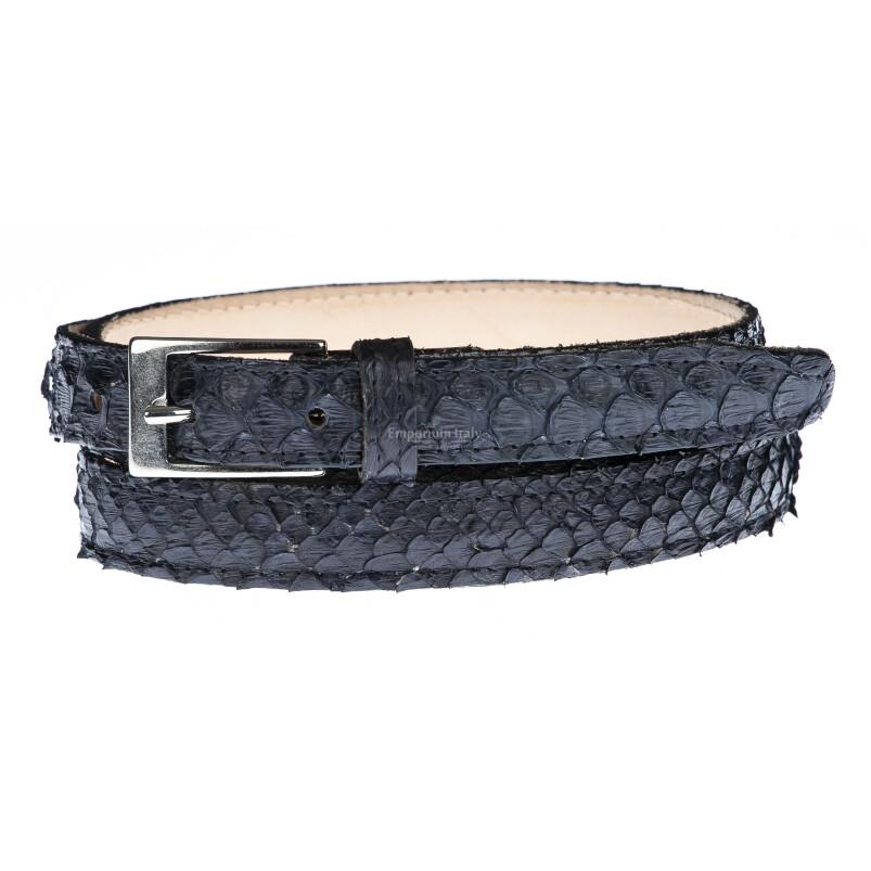 Cintura uomo/donna AMALFI vera pelle pitone certificato CITES, colore NERO, ELIO ZAGATO, Made in Italy