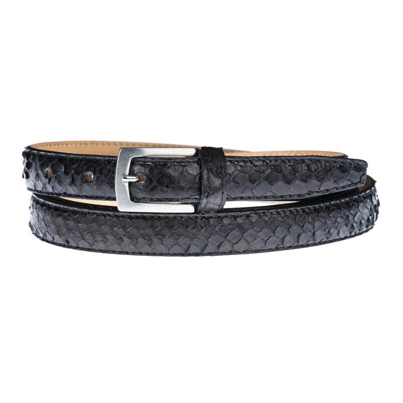 Cintura uomo/donna AMALFI vera pelle pitone certificato CITES, colore TESTA MORO, ELIO ZAGATO, Made in Italy