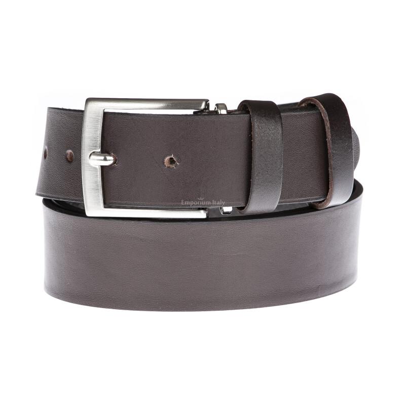 Cintura uomo in vera pelle LUGANO, colore MARRONE, EMPORIO TITANO, Made in Italy