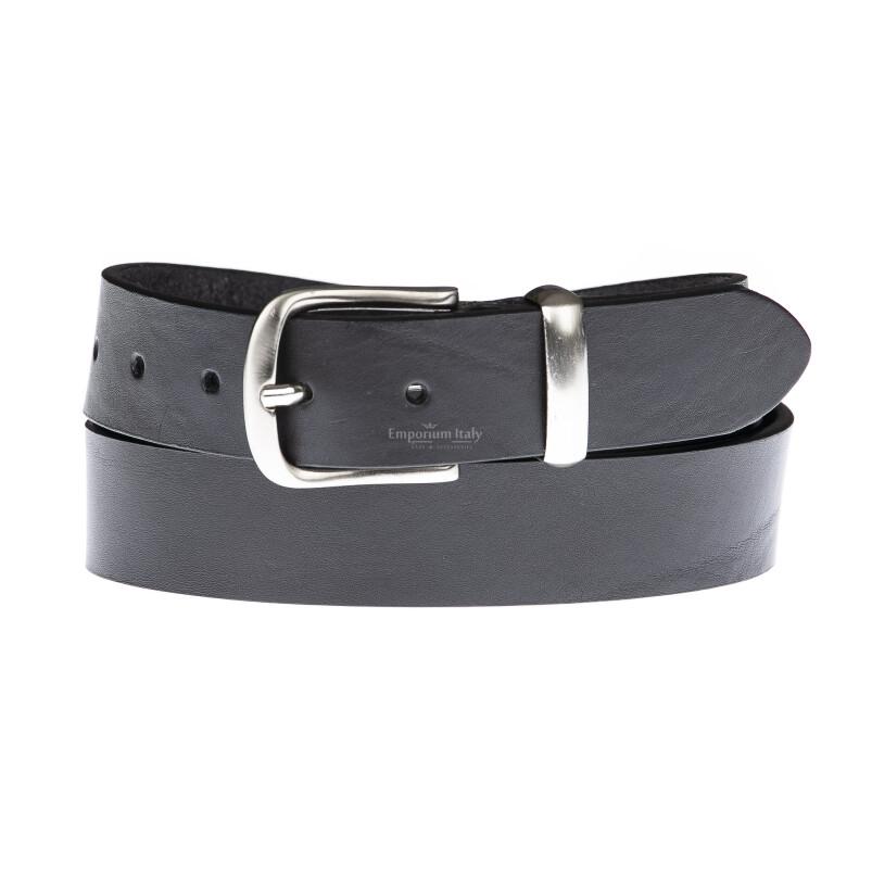 Cintura uomo in vera pelle RICCIONE, colore NERO, EMPORIUM ITALY, Made in Italy