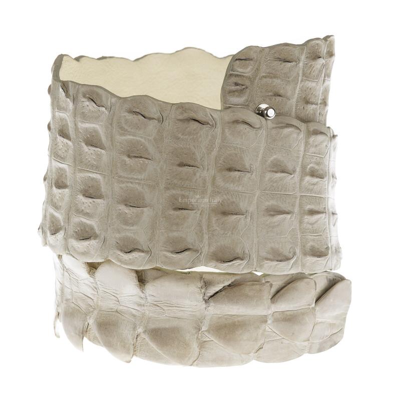 Cintura donna in vera pelle di coccodrillo GIZA, colore CHAMPAGNE, SANTINI, MADE IN ITALY