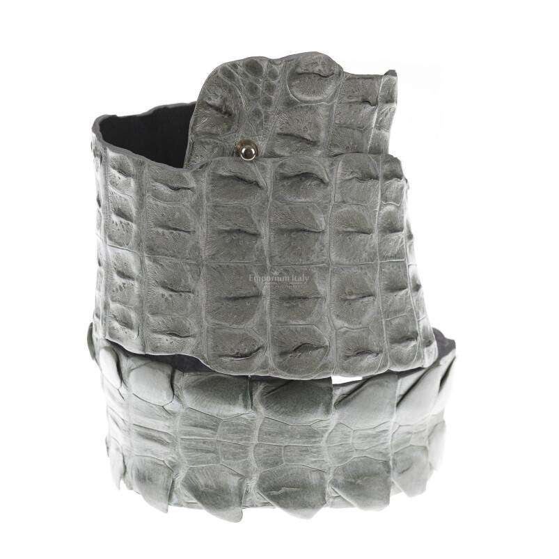 Cintura donna in vera pelle di coccodrillo GIZA, colore GRIGIO, SANTINI, MADE IN ITALY