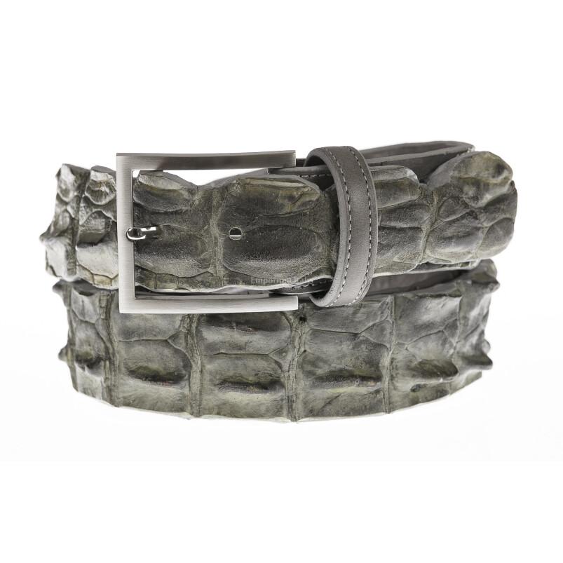 Cintura uomo in vera pelle di coccodrillo CATTOLICA, colore GRIGIO, SANTINI, MADE IN ITALY